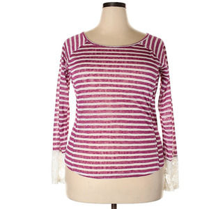 Just Ginger Orchid White Stripe Long Sleeve Shirt